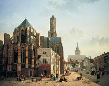 Vue du chœur et de la tour de la cathédrale d'Utrecht sur