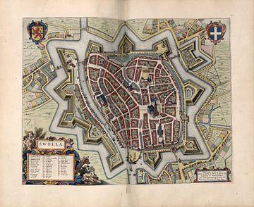 Zwolle, Stadtplan Joan Blaeu 1652 von Atelier Liesjes