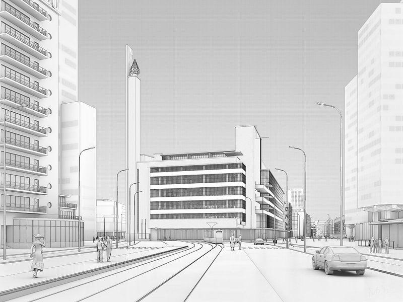 Dudok's Bijenkorf zwart op wit, Rotterdam van Frans Blok