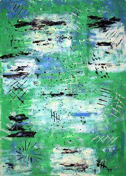 Rasterlijnen op groen-witte en blauwe vierkanten, II van elha-Art