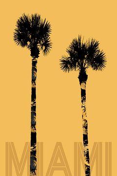 Graphic Art PALM TREES MIAMI | yellow & gold sur Melanie Viola