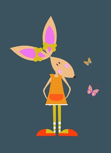 KONIJN met vlinders van Ellis Busscher