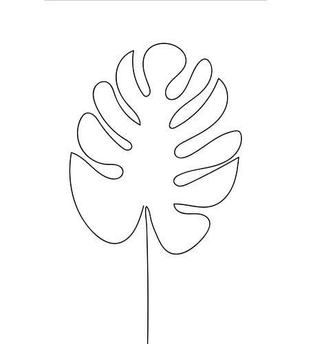 Line art Monstera Leaf Gatenplant