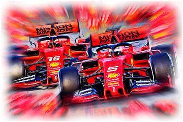 Italian Power - Vettel versus Leclerc von Jean-Louis Glineur alias DeVerviers
