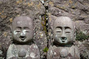 Beeldjes bij de Hasedera Temple in Japan