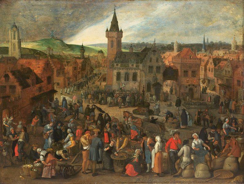Markttag in einer flämischen Stadt, Sebastiaan Vrancx von Meesterlijcke Meesters