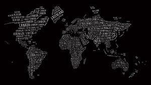 Wereldkaart in Typografie - Nederlandstalig - Wit op Zwart