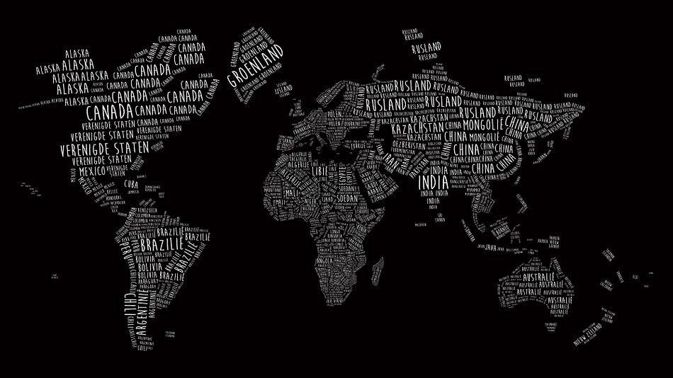 Wereldkaart in Typografie - Nederlandstalig - Wit op Zwart van - Wereldkaarten.Shop -