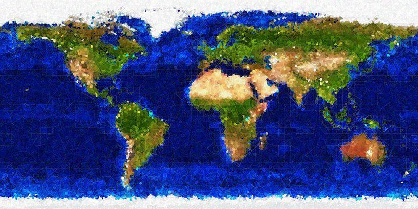 Kubistische wereldkaart van Frans Blok