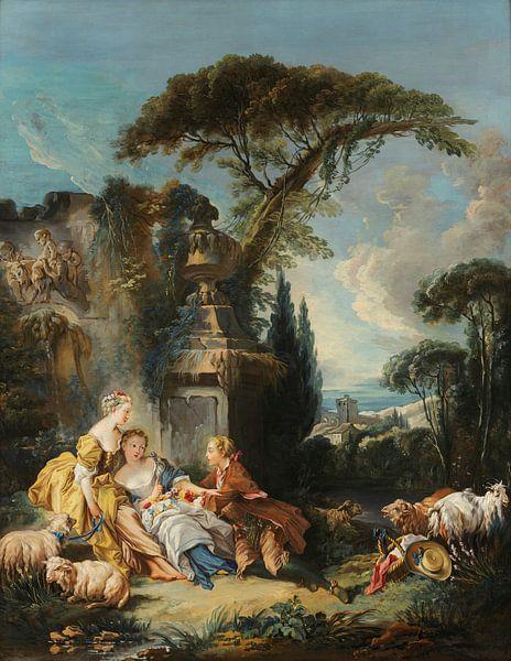 Pastorale Szene, François Boucher von Meesterlijcke Meesters