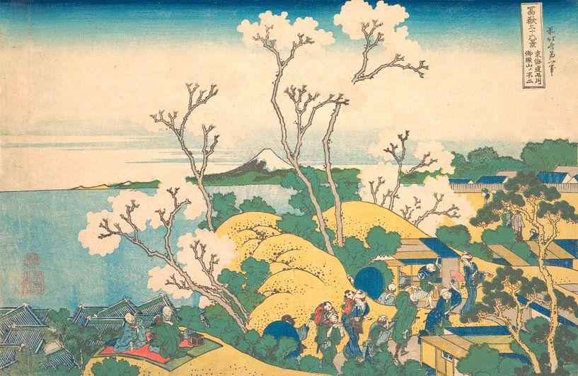 Fuji aus Gotenyama in Shinagawa auf der Tōkaidō, Katsushika Hokusai von Meesterlijcke Meesters