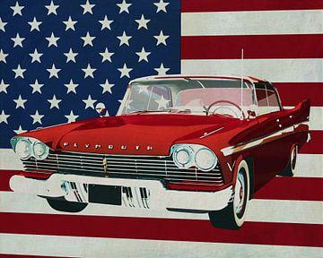 Plymouth Belvedere Sport Sedan 1957 mit der Flagge der U.S.A. von Jan Keteleer