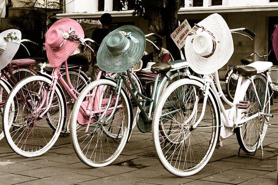 Fietsen en gekleurde hoeden