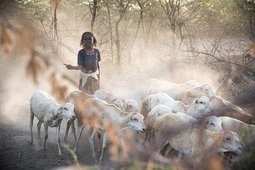 Meisje dat met haar geiten thuis komt | Ethiopië