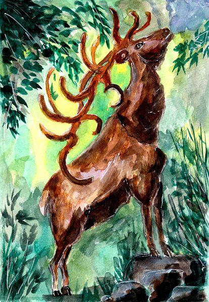 Alter Hirsch ruft in den Wald von ZeichenbloQ
