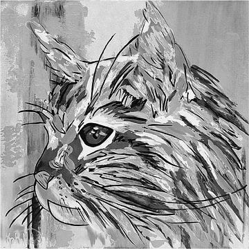 De zwart-witte kat van Kathleen Artist Fine Art