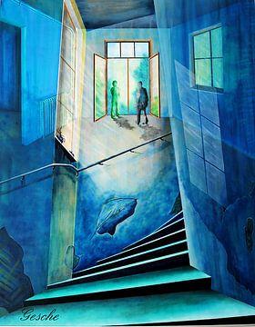 Dialog im Treppenhaus von Gertrud Scheffler