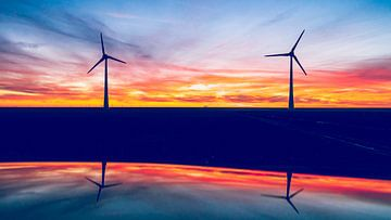 Windmühlen bei Sonnenuntergang von Fotografiecor .nl