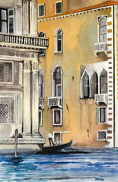 Gondelfahrt in Venedig | Malerei von WatercolorWall