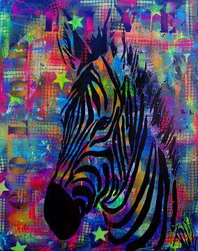 Colorful Zebra sur Femke van der Tak (fem-paintings)