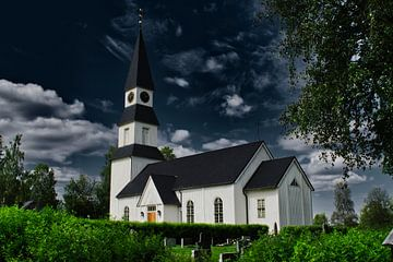 Witte kerk in Zweden van Mirjam Van Houten