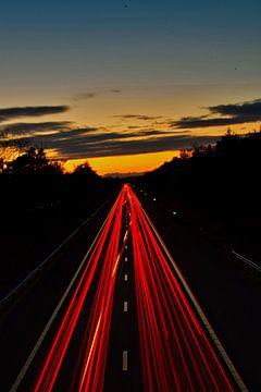 Snelweg met lichtshow van Mirjam Van Houten