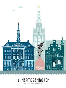 Skyline-Illustration Stadt Den Bosch in Farbe von Mevrouw Emmer