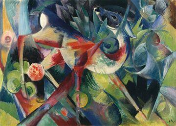 Herten in de bloementuin, Franz Marc