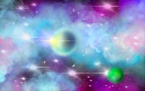Kosmos mit zwei Planeten in Türkis und Lila