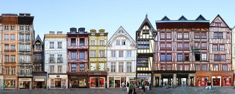 Rouen Framework Buildings | Rue du Gros-Horloge Panorama van Panorama Streetline