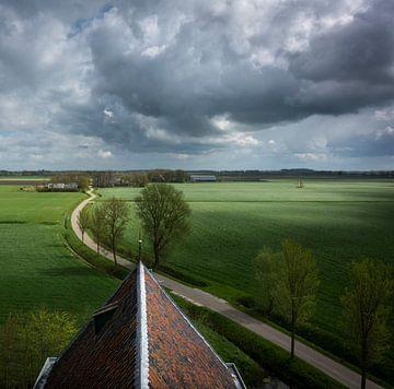 Wijds uitzicht vanaf kerktoren van Bo Scheeringa