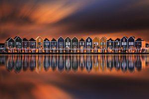 De huizen van Houten bij zonsondergang van