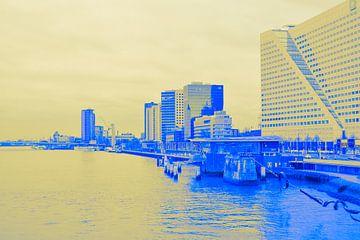 Rotterdam - Erasmusbrug en omgeving - in geel-blauwe tinten van Ineke Duijzer
