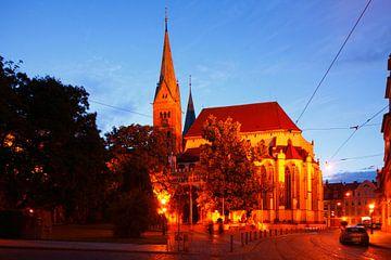 Augsburgse Dom in de schemering, oude stad, Augsburg, Zwaben, Beieren, Duitsland, Europa I Augsburge van Torsten Krüger