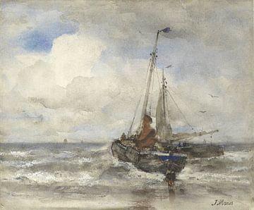 Zwei Fischerboote am Strand, Jacob Maris