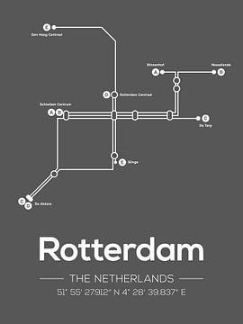Lignes de métro de Rotterdam Gris foncé sur