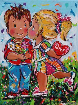 Kinderen in Love van Vrolijk Schilderij