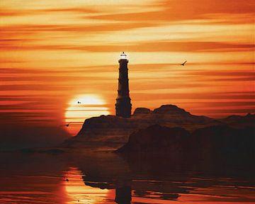 Vuurtoren met een zonsondergang en gele Stratus wolken