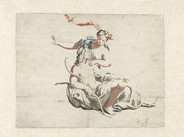 Jager en nimf, 1698 van Atelier Liesjes