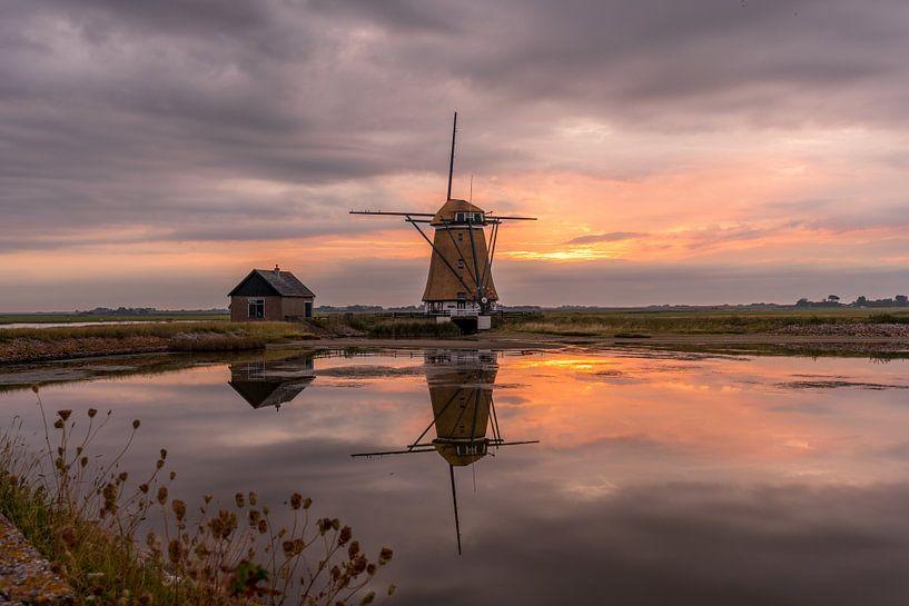 Coucher de soleil de Mill North Texel sur Texel360Fotografie Richard Heerschap