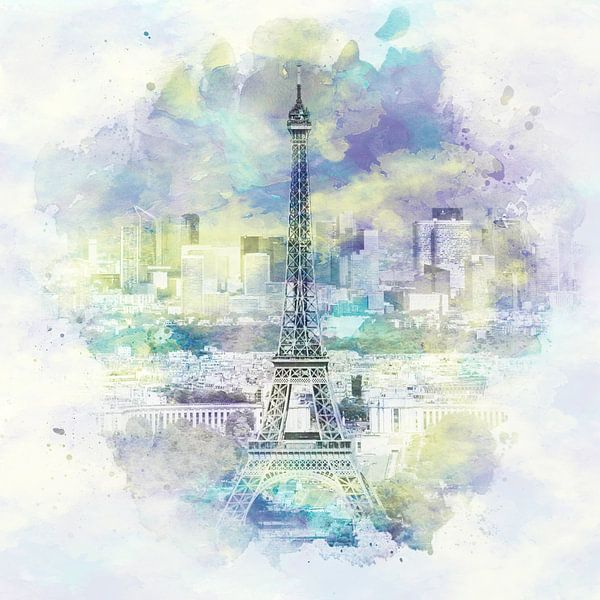 Skyline Van Parijs   Aquarel Stijl van Melanie Viola