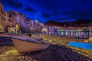 Cefalu, Sicilie Blauwe uur van