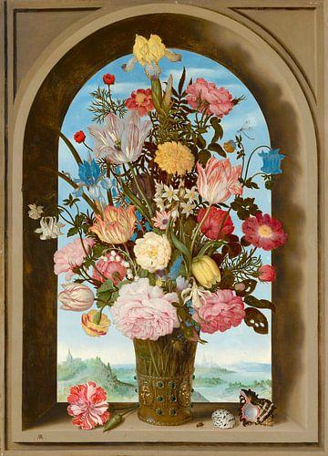 Vase mit Blumen in einem Fenster, Ambrosius Bosschaert der Ältere