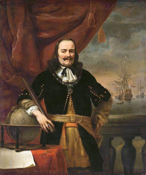 Portret schilderij: Michiel de Ruyter als luitenant-admiraal, Ferdinand Bol, 1667  van Schilderijen Nu