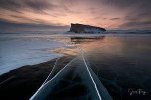 Bevroren Baikal meer van