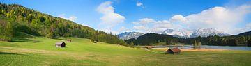 Alpenlandschap met gentiaanweide, Geroldsee en Karwendelgebergte van Susanne Bauernfeind
