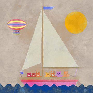 Knuffeldieren in zeilboot op zee van Joost Hogervorst