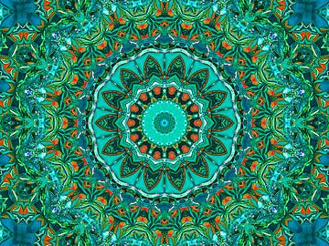 Retrospektive (Mandala in Petrol) von Caroline Lichthart