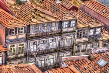 Oude stadswijk, oude blauw betegelde huisgevels, Porto, district Porto, Portugal, Europa van Torsten Krüger