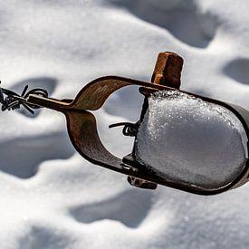 Draadspanner in de sneeuw van Marcel Pietersen